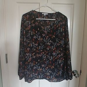 DR2 Front Pleated Floral Print Blouse